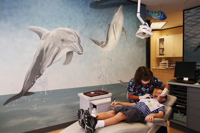Exam Room with Dolphins - Pediatric Dentist in Houston, Memorial and The Heights, TX